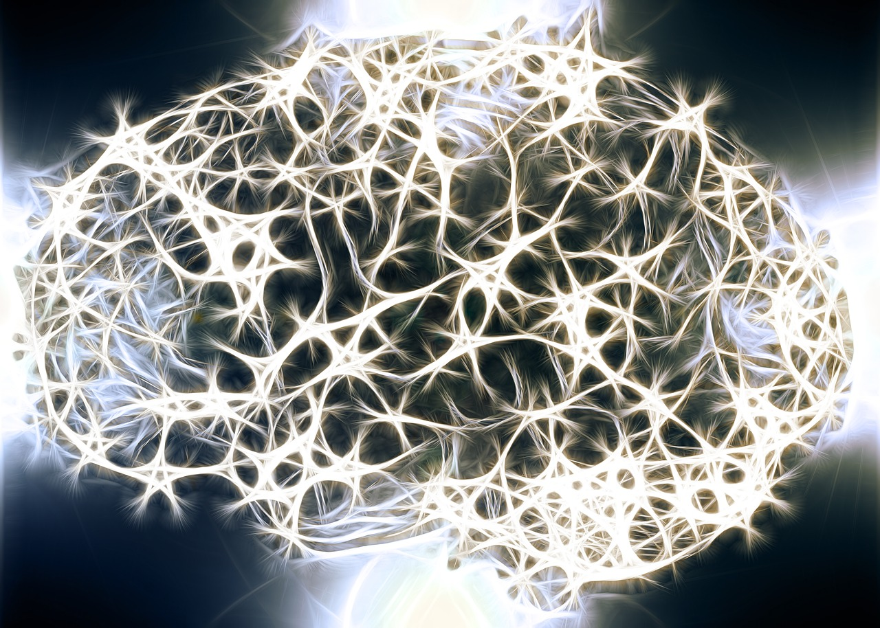 glowing neurons form brain shape on dark background