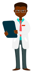 Cartoon drawing of black male doctor holding a clipboard