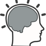 Cartoon outline of human head with gray silhouette of brain inside.