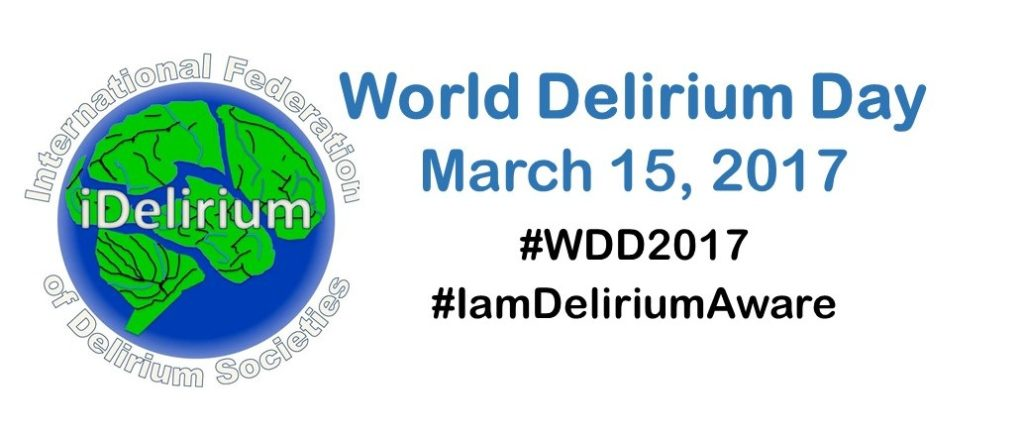 "I-Delirium Globe logo next to text ""World Delirium Day, March 15 2017, #WDD2017 #Iamdeliriumaware"""